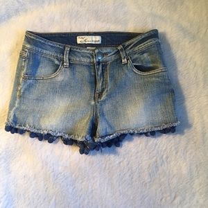 Pants - Jean shorts with Pom Poms